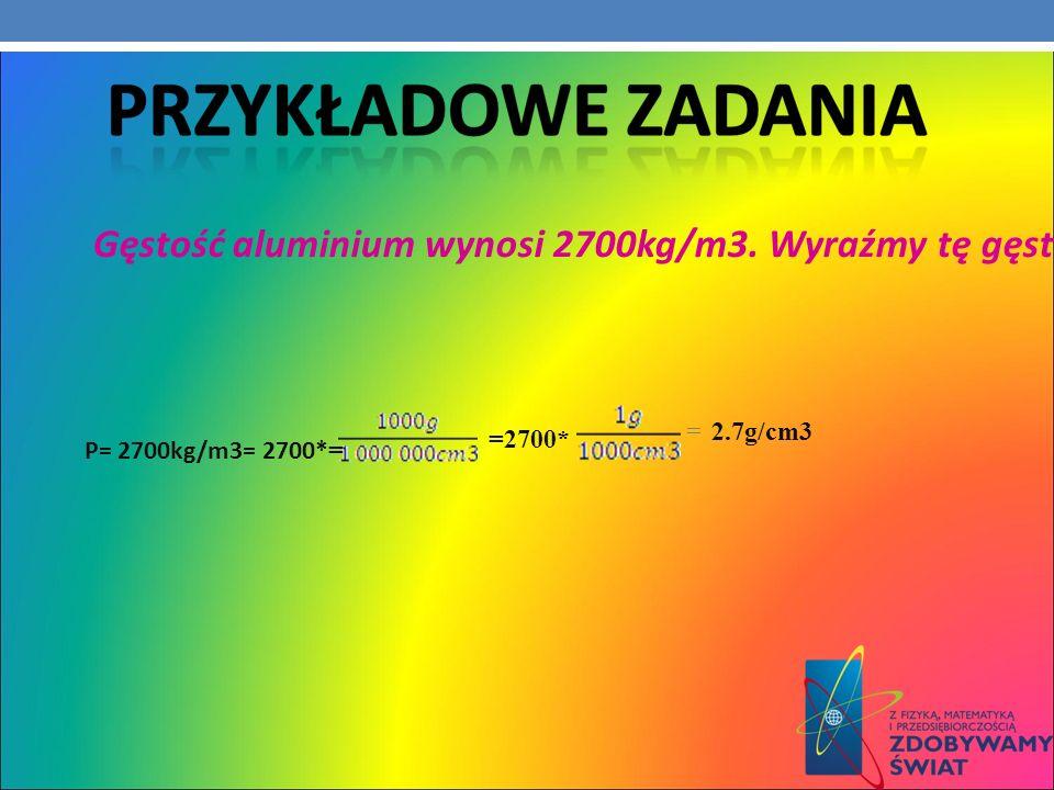 Ρ= 2700kg/m3= 2700* = =2700* =2.7g/cm3 Gęstość aluminium wynosi 2700kg/m3. Wyraźmy tę gęstość w g/cm3.