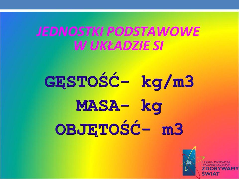 JEDNOSTKI PODSTAWOWE W UKŁADZIE SI GĘSTOŚĆ- kg/m3 MASA- kg OBJĘTOŚĆ- m3