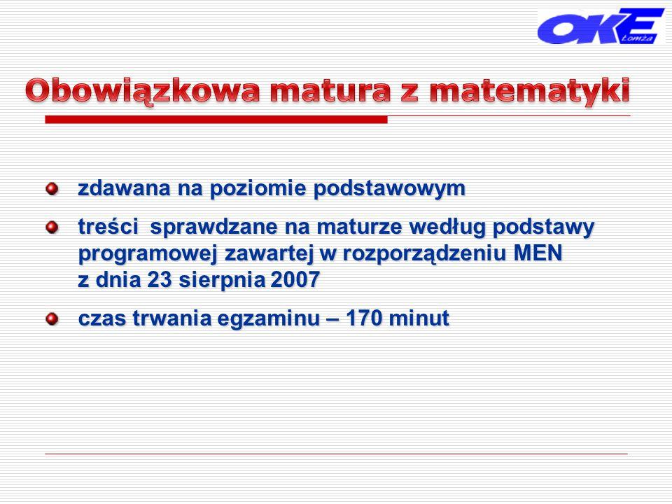 zdawana na poziomie podstawowym treści sprawdzane na maturze według podstawy programowej zawartej w rozporządzeniu MEN z dnia 23 sierpnia 2007 czas trwania egzaminu – 170 minut