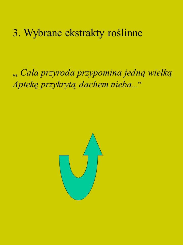 3. Wybrane ekstrakty roślinne Cała przyroda przypomina jedną wielką Aptekę przykrytą dachem nieba...