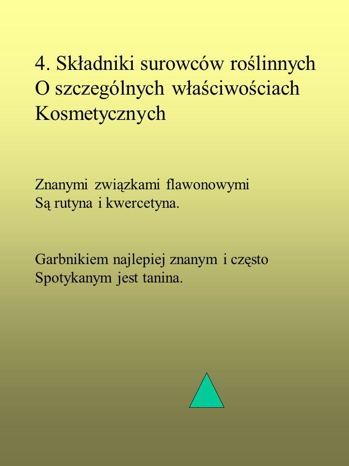 4. Składniki surowców roślinnych O szczególnych właściwościach Kosmetycznych Znanymi związkami flawonowymi Są rutyna i kwercetyna. Garbnikiem najlepie