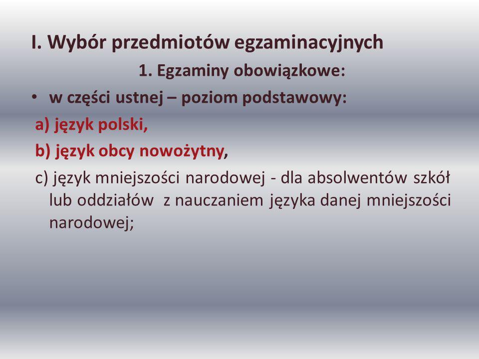 I. Wybór przedmiotów egzaminacyjnych 1.