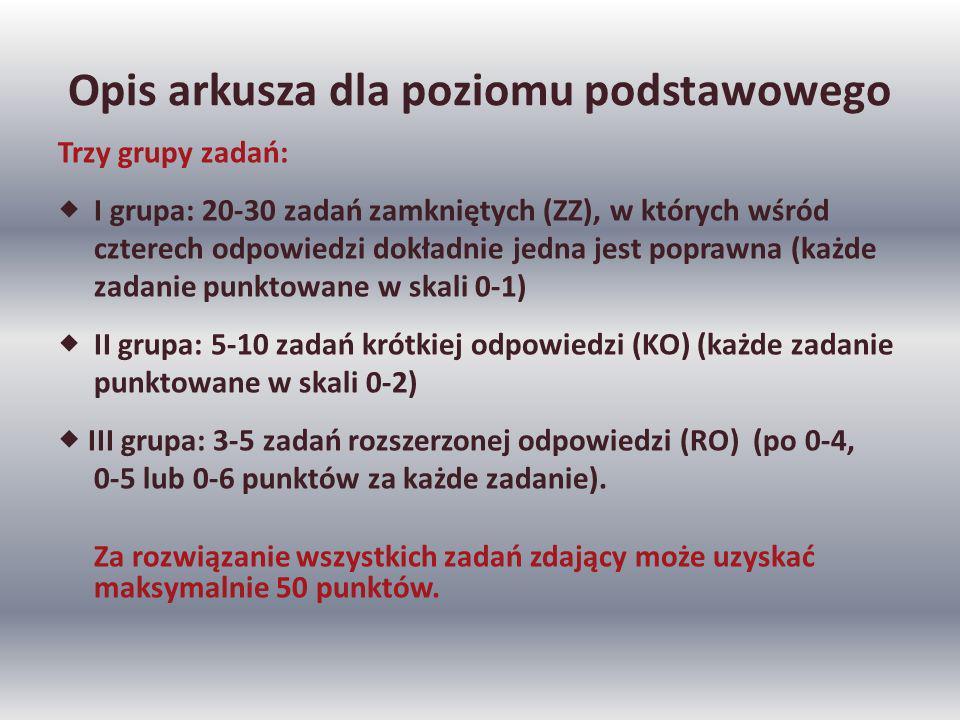 Opis arkusza dla poziomu podstawowego Trzy grupy zadań: I grupa: 20-30 zadań zamkniętych (ZZ), w których wśród czterech odpowiedzi dokładnie jedna jest poprawna (każde zadanie punktowane w skali 0-1) II grupa: 5-10 zadań krótkiej odpowiedzi (KO) (każde zadanie punktowane w skali 0-2) III grupa: 3-5 zadań rozszerzonej odpowiedzi (RO) (po 0-4, 0-5 lub 0-6 punktów za każde zadanie).