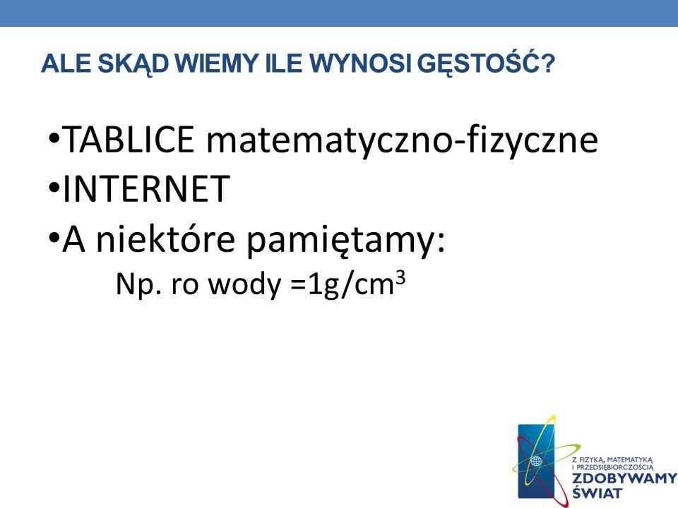 ALE SKĄD WIEMY ILE WYNOSI GĘSTOŚĆ? TABLICE matematyczno-fizyczne INTERNET A niektóre pamiętamy: Np. ro wody =1g/cm 3