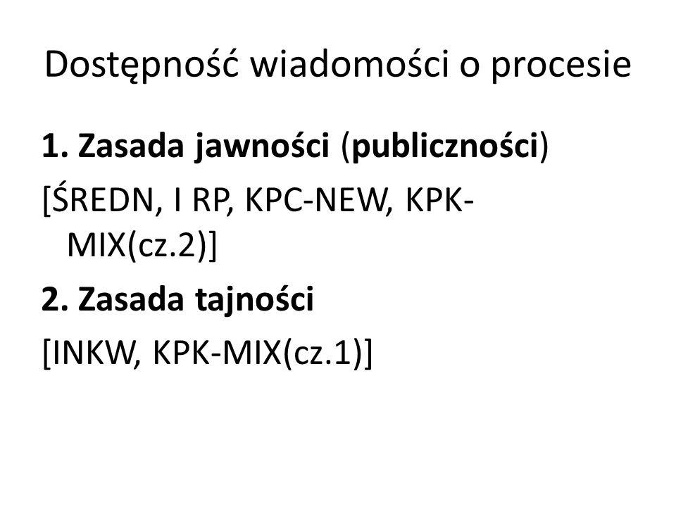 Dostępność wiadomości o procesie 1. Zasada jawności (publiczności) [ŚREDN, I RP, KPC-NEW, KPK- MIX(cz.2)] 2. Zasada tajności [INKW, KPK-MIX(cz.1)]