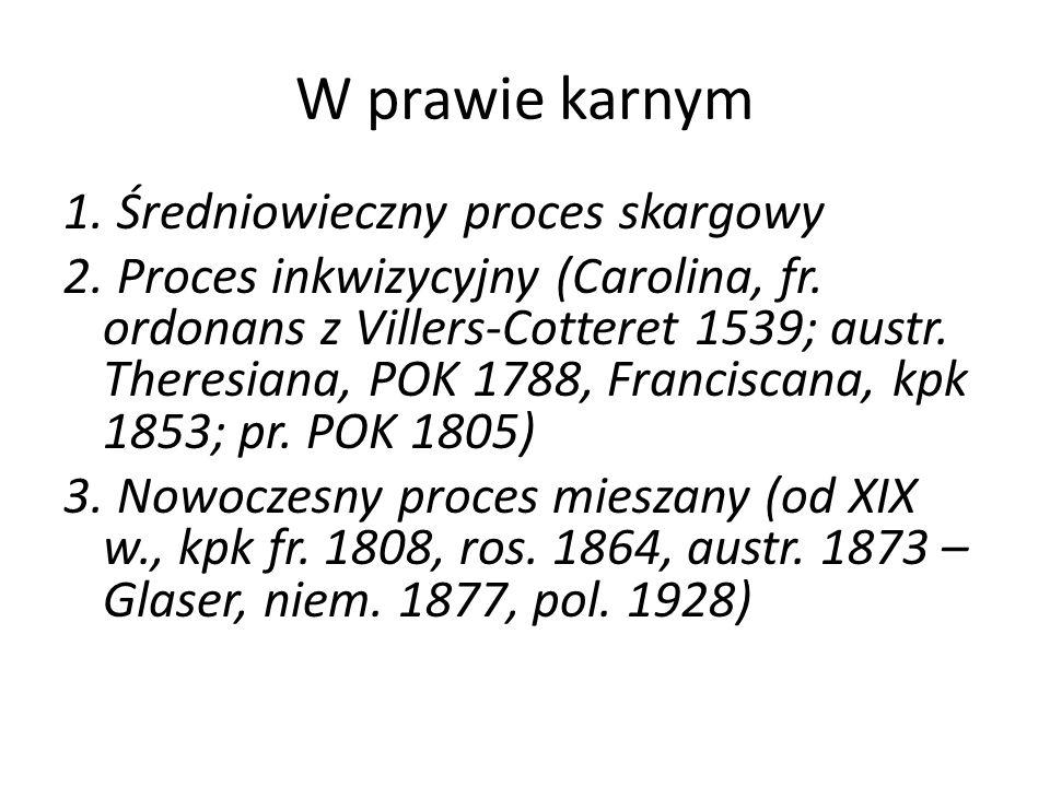 W prawie karnym 1. Średniowieczny proces skargowy 2. Proces inkwizycyjny (Carolina, fr. ordonans z Villers-Cotteret 1539; austr. Theresiana, POK 1788,