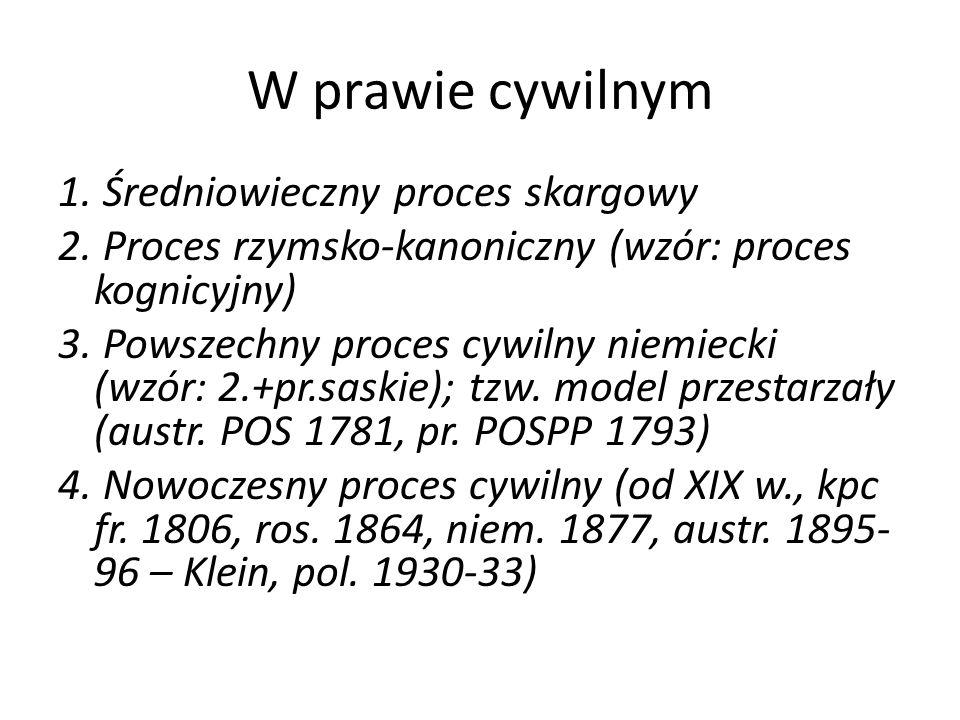 W prawie cywilnym 1. Średniowieczny proces skargowy 2. Proces rzymsko-kanoniczny (wzór: proces kognicyjny) 3. Powszechny proces cywilny niemiecki (wzó