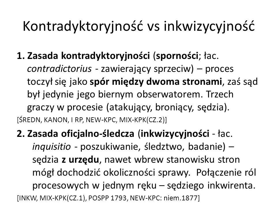 Kontradyktoryjność vs inkwizycyjność 1. Zasada kontradyktoryjności (sporności; łac. contradictorius - zawierający sprzeciw) – proces toczył się jako s