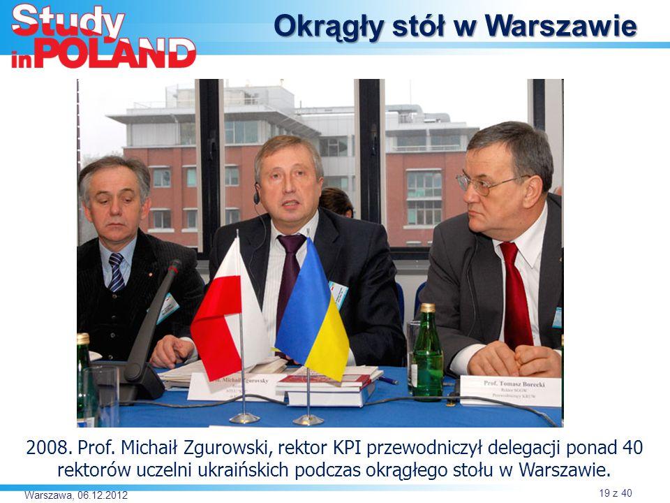 Warszawa, 06.12.2012 Okrągły stół w Warszawie 2008.