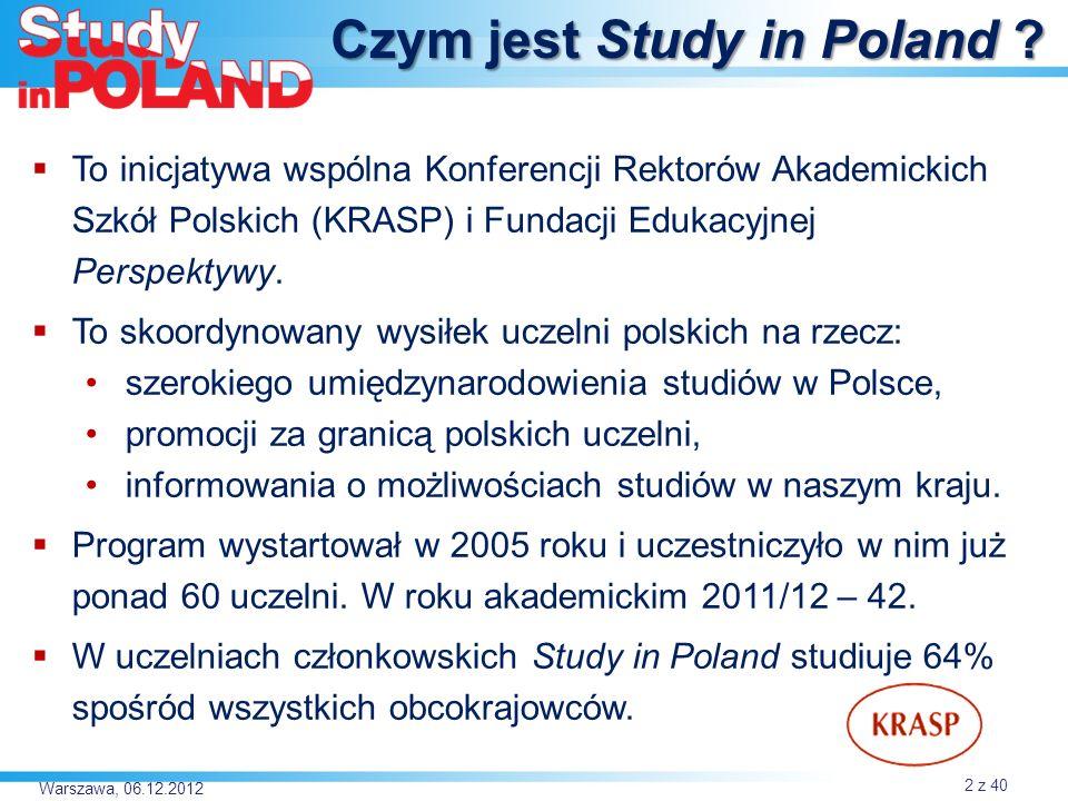 Warszawa, 06.12.2012 Skąd przyjechali do Polski… Ukraina Białoruś 970 (1004) USA Norwegia 1514 (1406) Szwecja 1162 (1089) Hiszpania 6321 (4879) 2937 (2604) 1171 (1076) 963 (798) Litwa Łącznie studiowało w 2011 roku w Polsce 24 253 studentów zagranicznych.