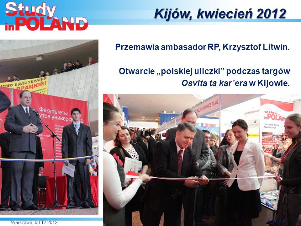Warszawa, 06.12.2012 Kijów, kwiecień 2012 Przemawia ambasador RP, Krzysztof Litwin.