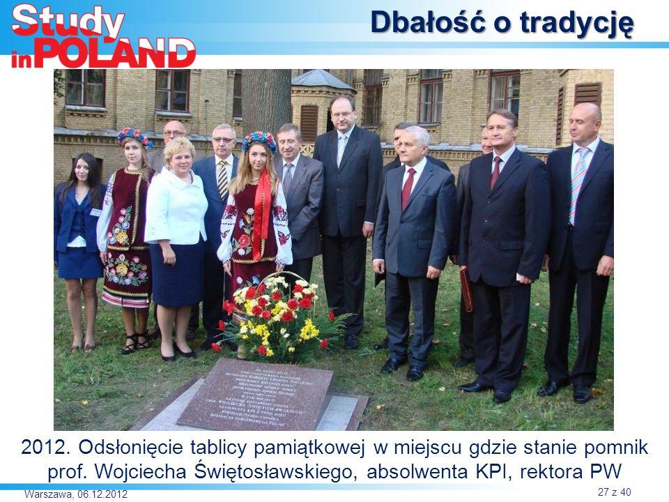 Warszawa, 06.12.2012 Dbałość o tradycję 2012.