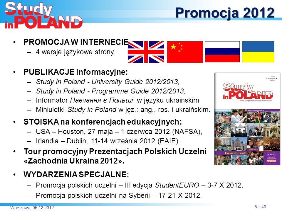 Warszawa, 06.12.2012 PROMOCJA W INTERNECIE –4 wersje językowe strony.