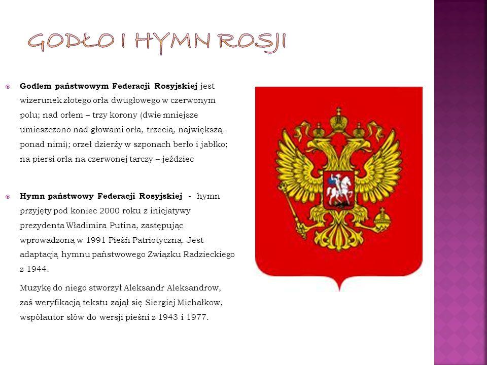 Godłem państwowym Federacji Rosyjskiej jest wizerunek złotego orła dwugłowego w czerwonym polu; nad orłem – trzy korony (dwie mniejsze umieszczono nad