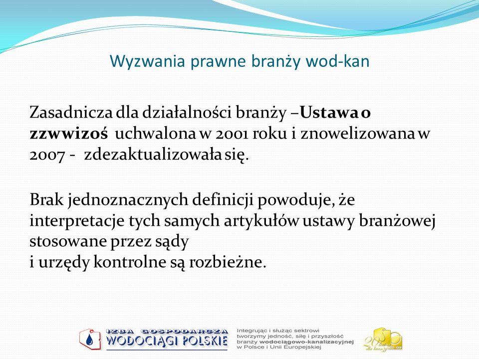 Wyzwania prawne branży wod-kan Zasadnicza dla działalności branży –Ustawa o zzwwizoś uchwalona w 2001 roku i znowelizowana w 2007 - zdezaktualizowała