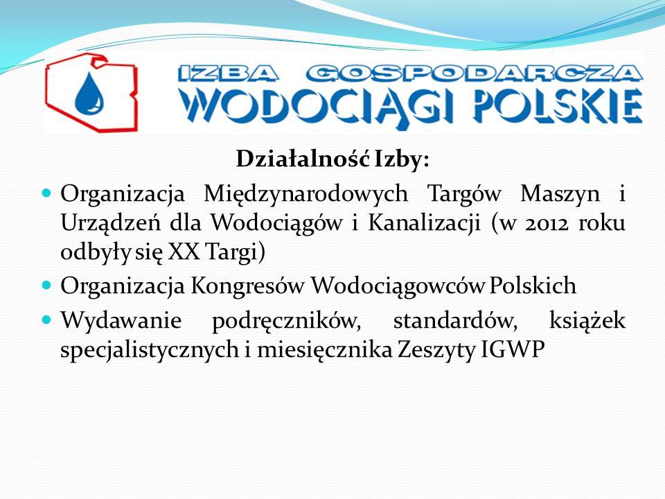 Działalność Izby: Organizacja Międzynarodowych Targów Maszyn i Urządzeń dla Wodociągów i Kanalizacji (w 2012 roku odbyły się XX Targi) Organizacja Kon