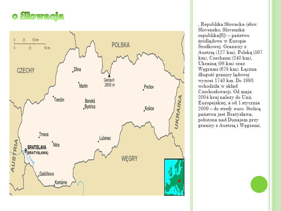 , Republika Słowacka (słow. Slovensko, Slovenská republika[6]) – państwo śródlądowe w Europie Środkowej. Graniczy z Austrią (127 km), Polską (597 km),