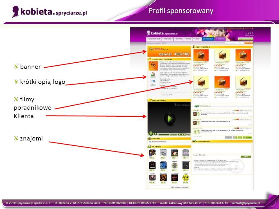 Profil sponsorowany krótki opis, logo znajomi banner filmy poradnikowe Klienta