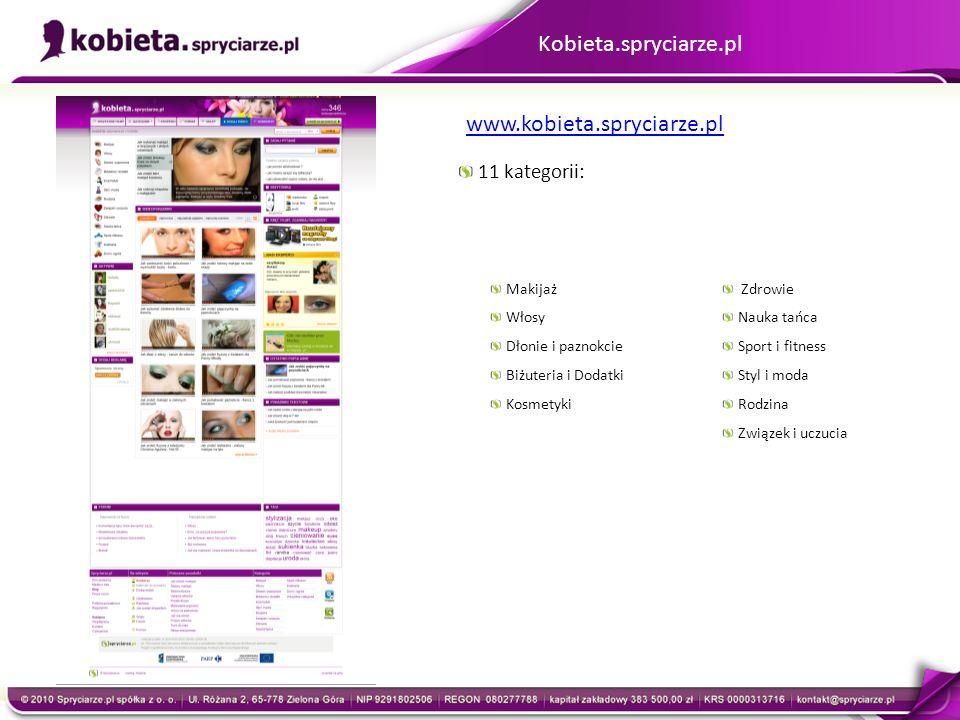 Kobieta.spryciarze.pl 11 kategorii: Makijaż Włosy Dłonie i paznokcie Biżuteria i Dodatki Kosmetyki Zdrowie Nauka tańca Sport i fitness Styl i moda Rod