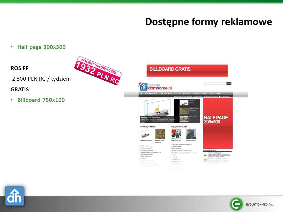Dostępne formy reklamowe Half page 300x500 ROS FF 2 800 PLN RC / tydzień GRATIS Billboard 750x100 1932 PLN RC WALENTYNKOWA CENA