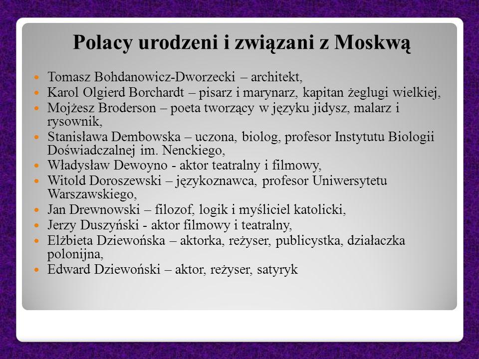 Polacy urodzeni i związani z Moskwą Tomasz Bohdanowicz-Dworzecki – architekt, Karol Olgierd Borchardt – pisarz i marynarz, kapitan żeglugi wielkiej, M