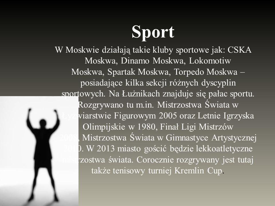 Sport W Moskwie działają takie kluby sportowe jak: CSKA Moskwa, Dinamo Moskwa, Lokomotiw Moskwa, Spartak Moskwa, Torpedo Moskwa – posiadające kilka se