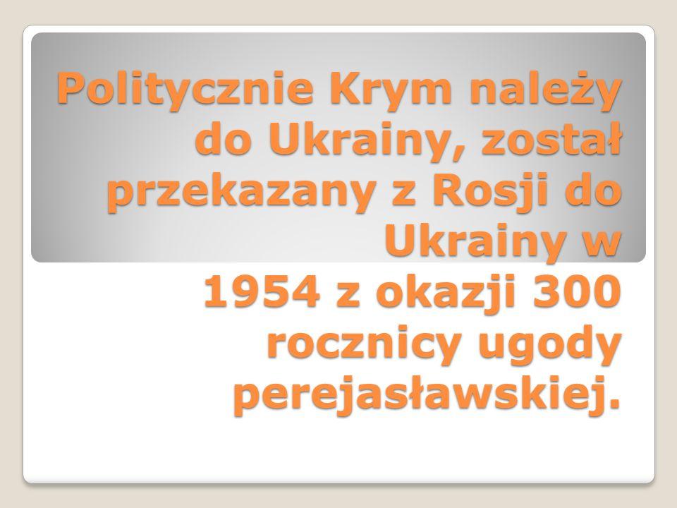 Politycznie Krym należy do Ukrainy, został przekazany z Rosji do Ukrainy w 1954 z okazji 300 rocznicy ugody perejasławskiej.