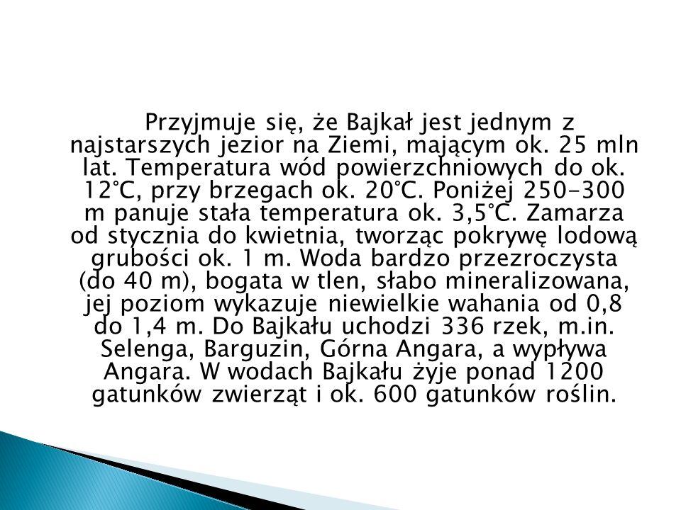 Przyjmuje się, że Bajkał jest jednym z najstarszych jezior na Ziemi, mającym ok. 25 mln lat. Temperatura wód powierzchniowych do ok. 12°C, przy brzega