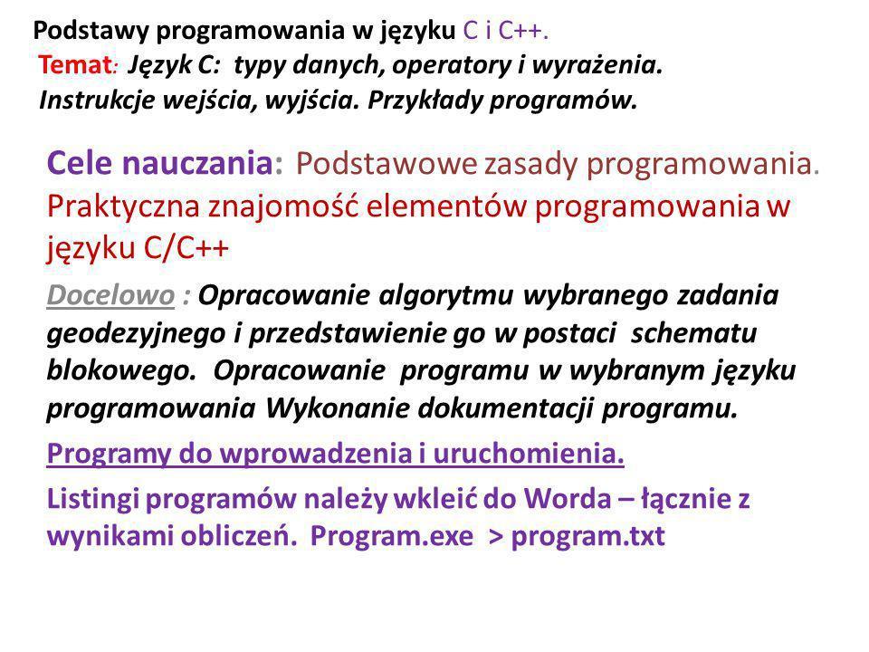 Podstawy programowania w języku C i C++. Temat : Język C: typy danych, operatory i wyrażenia. Instrukcje wejścia, wyjścia. Przykłady programów. Cele n