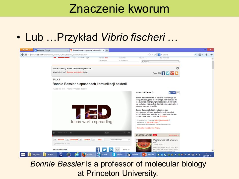 Lub …Przykład Vibrio fischeri … Znaczenie kworum Bonnie Bassler is a professor of molecular biology at Princeton University.