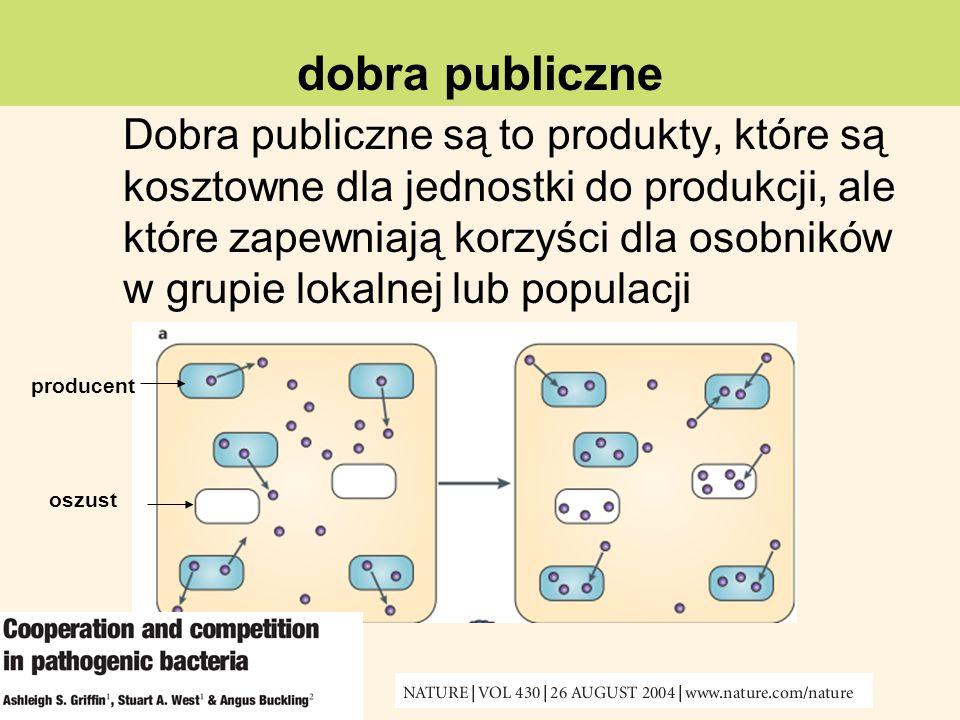 Dobra publiczne są to produkty, które są kosztowne dla jednostki do produkcji, ale które zapewniają korzyści dla osobników w grupie lokalnej lub popul