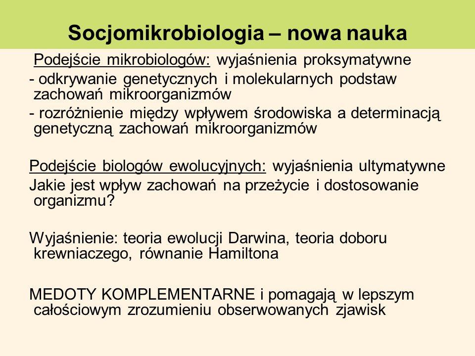 Podejście mikrobiologów: wyjaśnienia proksymatywne - odkrywanie genetycznych i molekularnych podstaw zachowań mikroorganizmów - rozróżnienie między wp