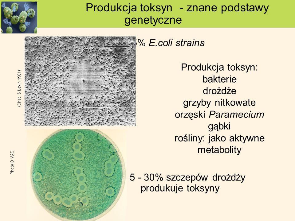 Produkcja toksyn: bakterie drożdże grzyby nitkowate orzęski Paramecium gąbki rośliny: jako aktywne metabolity <35% E.coli strains Produkcja toksyn - z