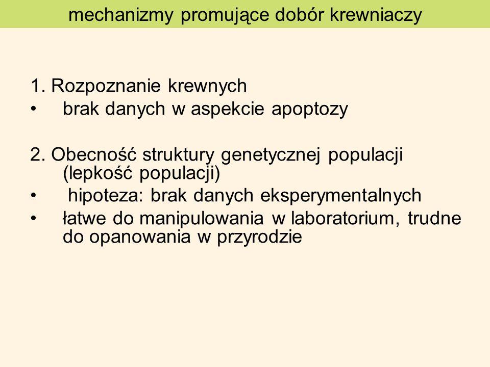 1. Rozpoznanie krewnych brak danych w aspekcie apoptozy 2. Obecność struktury genetycznej populacji (lepkość populacji) hipoteza: brak danych eksperym