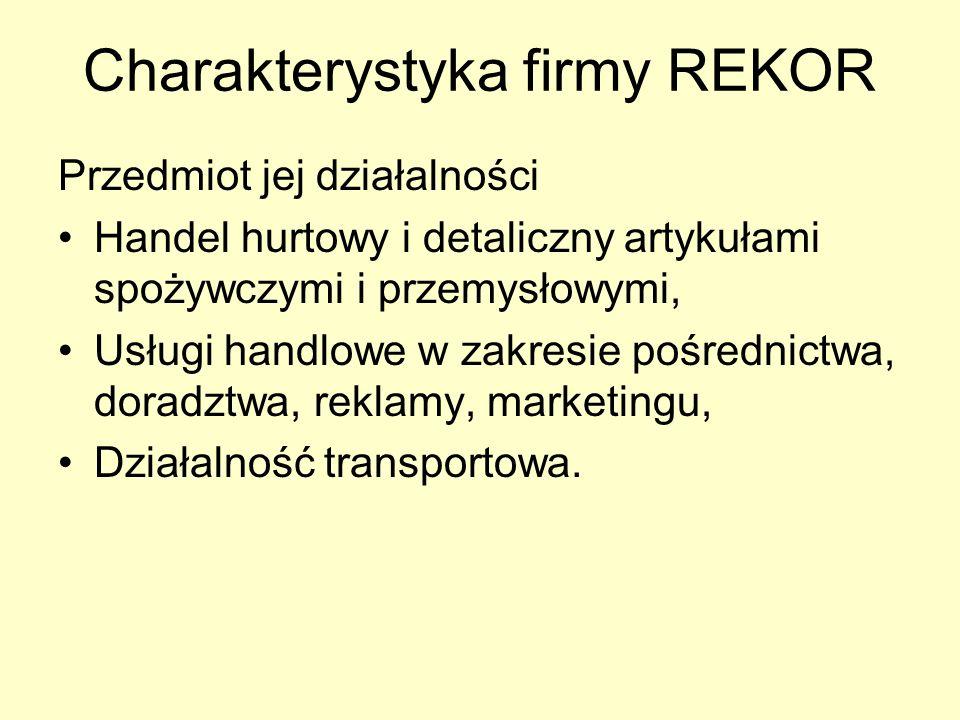 Charakterystyka firmy REKOR Przedmiot jej działalności Handel hurtowy i detaliczny artykułami spożywczymi i przemysłowymi, Usługi handlowe w zakresie