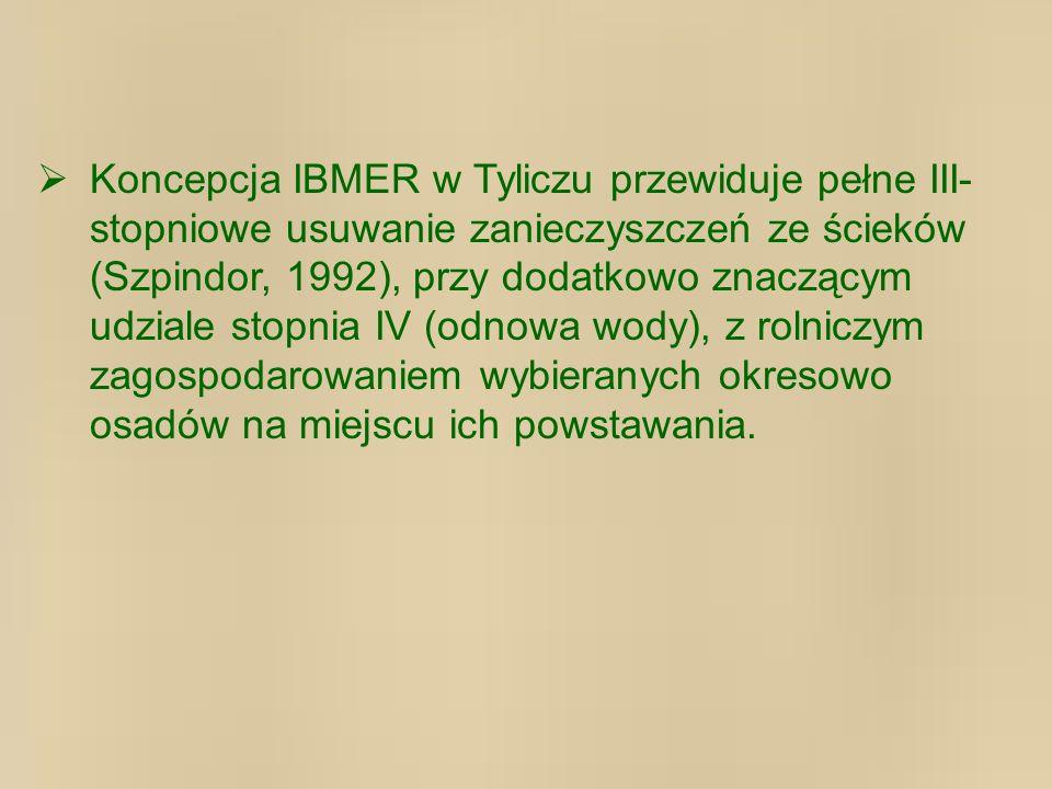 Koncepcja IBMER w Tyliczu przewiduje pełne III- stopniowe usuwanie zanieczyszczeń ze ścieków (Szpindor, 1992), przy dodatkowo znaczącym udziale stopnia IV (odnowa wody), z rolniczym zagospodarowaniem wybieranych okresowo osadów na miejscu ich powstawania.