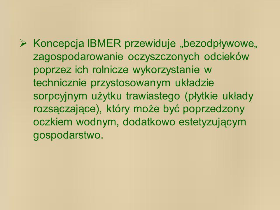 Koncepcja IBMER przewiduje bezodpływowe zagospodarowanie oczyszczonych odcieków poprzez ich rolnicze wykorzystanie w technicznie przystosowanym układzie sorpcyjnym użytku trawiastego (płytkie układy rozsączające), który może być poprzedzony oczkiem wodnym, dodatkowo estetyzującym gospodarstwo.
