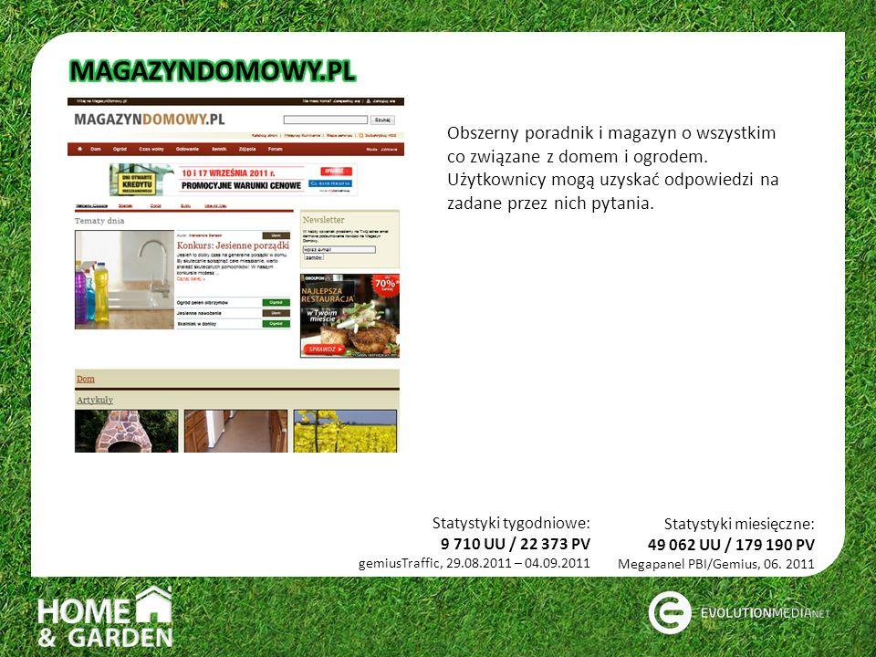 Statystyki tygodniowe: 9 710 UU / 22 373 PV gemiusTraffic, 29.08.2011 – 04.09.2011 Obszerny poradnik i magazyn o wszystkim co związane z domem i ogrodem.