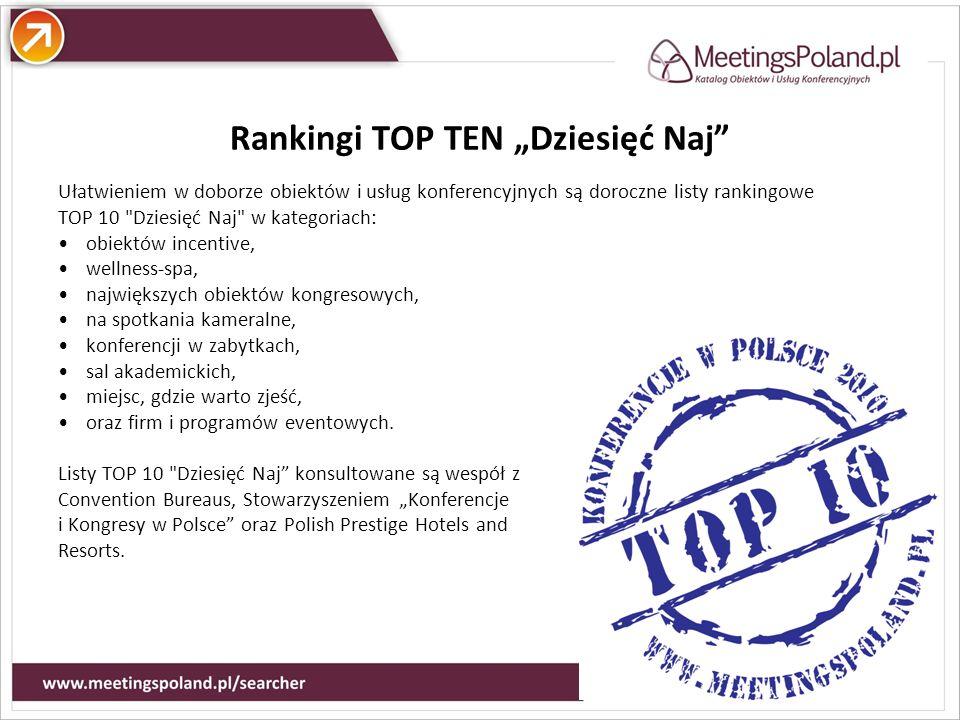 Atuty Rankingi TOP TEN Dziesięć Naj Ułatwieniem w doborze obiektów i usług konferencyjnych są doroczne listy rankingowe TOP 10