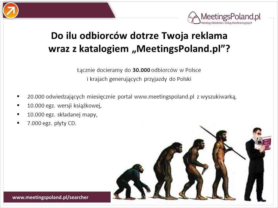 Atuty Do ilu odbiorców dotrze Twoja reklama wraz z katalogiem MeetingsPoland.pl? Łącznie docieramy do 30.000 odbiorców w Polsce i krajach generujących