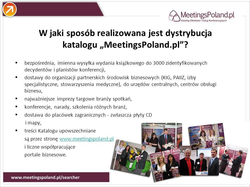 Atuty W jaki sposób realizowana jest dystrybucja katalogu MeetingsPoland.pl? bezpośrednia, imienna wysyłka wydania książkowego do 3000 zidentyfikowany