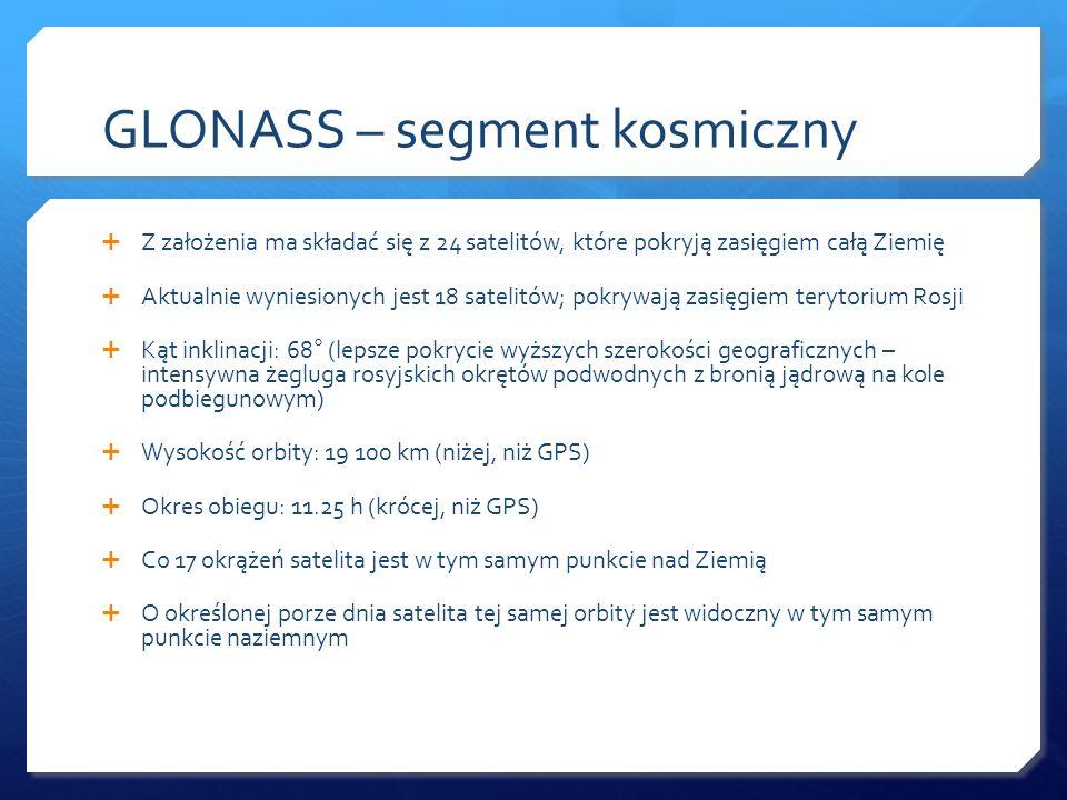 GLONASS – segment kosmiczny Z założenia ma składać się z 24 satelitów, które pokryją zasięgiem całą Ziemię Aktualnie wyniesionych jest 18 satelitów; p