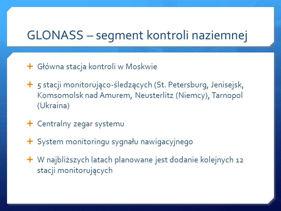 GLONASS – segment kontroli naziemnej Główna stacja kontroli w Moskwie 5 stacji monitorująco-śledzących (St. Petersburg, Jenisejsk, Komsomolsk nad Amur