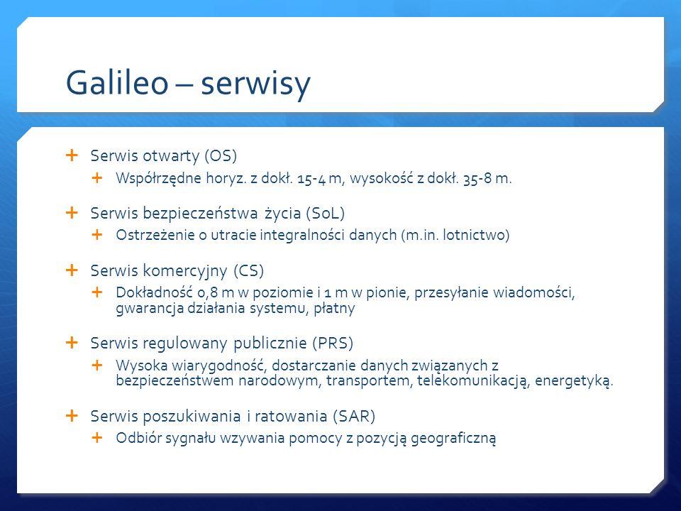 Galileo – serwisy Serwis otwarty (OS) Współrzędne horyz. z dokł. 15-4 m, wysokość z dokł. 35-8 m. Serwis bezpieczeństwa życia (SoL) Ostrzeżenie o utra