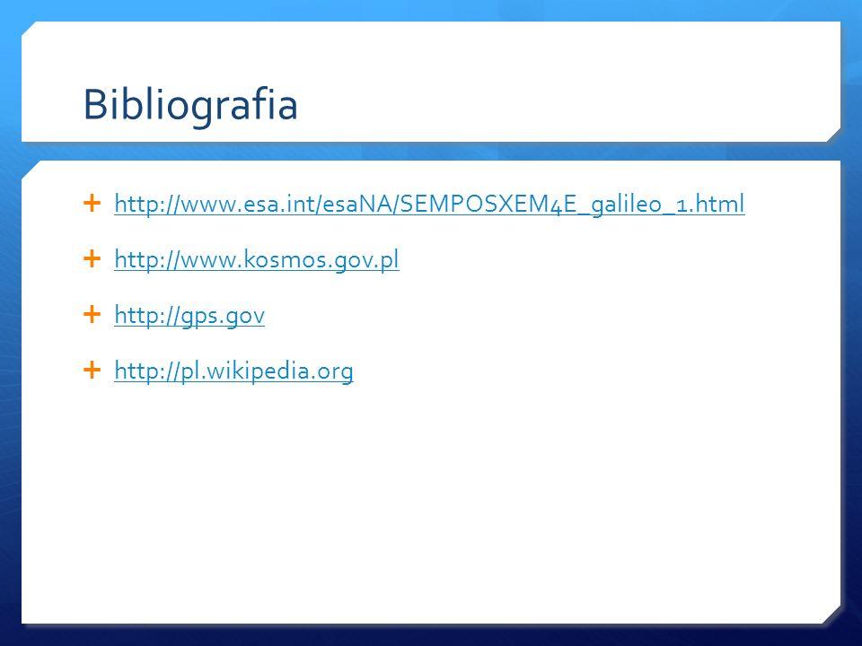 Bibliografia http://www.esa.int/esaNA/SEMPOSXEM4E_galileo_1.html http://www.kosmos.gov.pl http://gps.gov http://pl.wikipedia.org