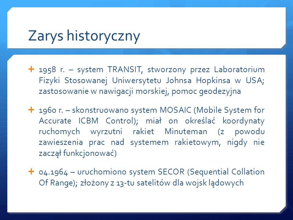 Zarys historyczny 1958 r. – system TRANSIT, stworzony przez Laboratorium Fizyki Stosowanej Uniwersytetu Johnsa Hopkinsa w USA; zastosowanie w nawigacj