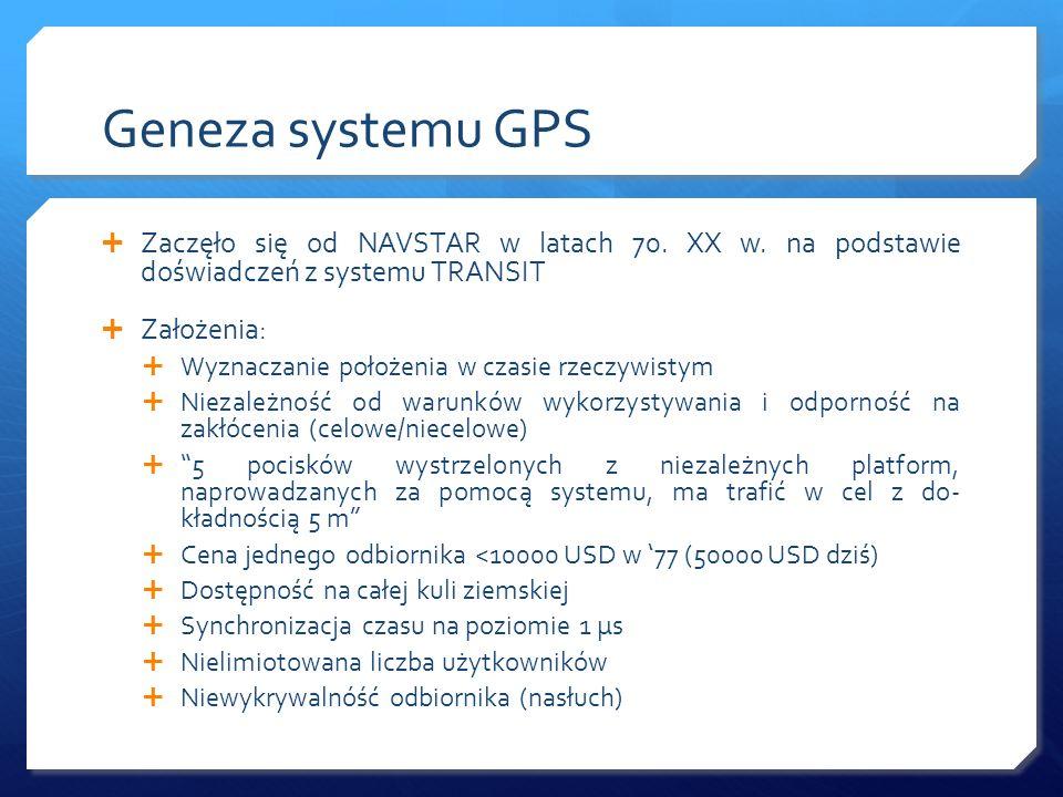 Geneza systemu GPS Zaczęło się od NAVSTAR w latach 70. XX w. na podstawie doświadczeń z systemu TRANSIT Założenia: Wyznaczanie położenia w czasie rzec