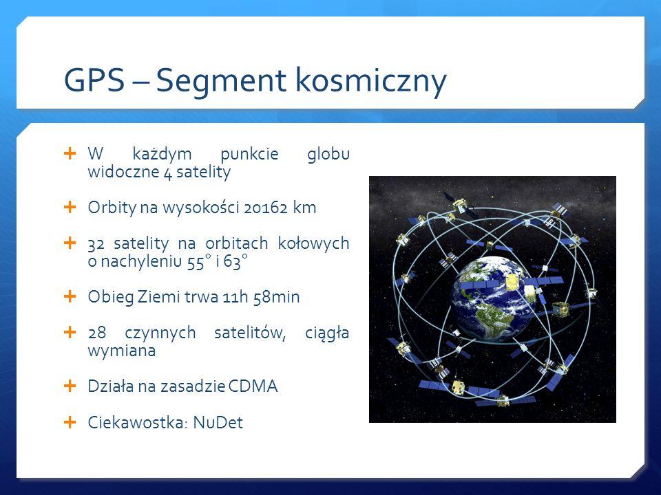 GPS – Segment kosmiczny W każdym punkcie globu widoczne 4 satelity Orbity na wysokości 20162 km 32 satelity na orbitach kołowych o nachyleniu 55° i 63