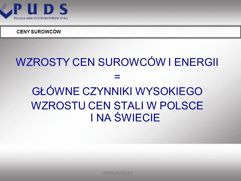 www.puds.pl CENY SUROWCÓW RUDA ŻELAZA AKTUALNA CENA: powyżej 100 USD WZROST 07/08 63%