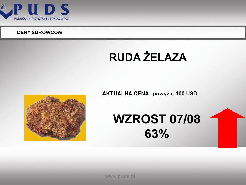 www.puds.pl CENY SUROWCÓW RUDA ŻELAZA - 2009 – dodatkowe 10% - 2010 - dodatkowe 5% TEGOROCZNY WZROST ZAAKCEPTOWAŁA JUŻ WIEKSZOŚĆ ŚWIATOWYCH PRODUCENTÓW STALI (M.IN.